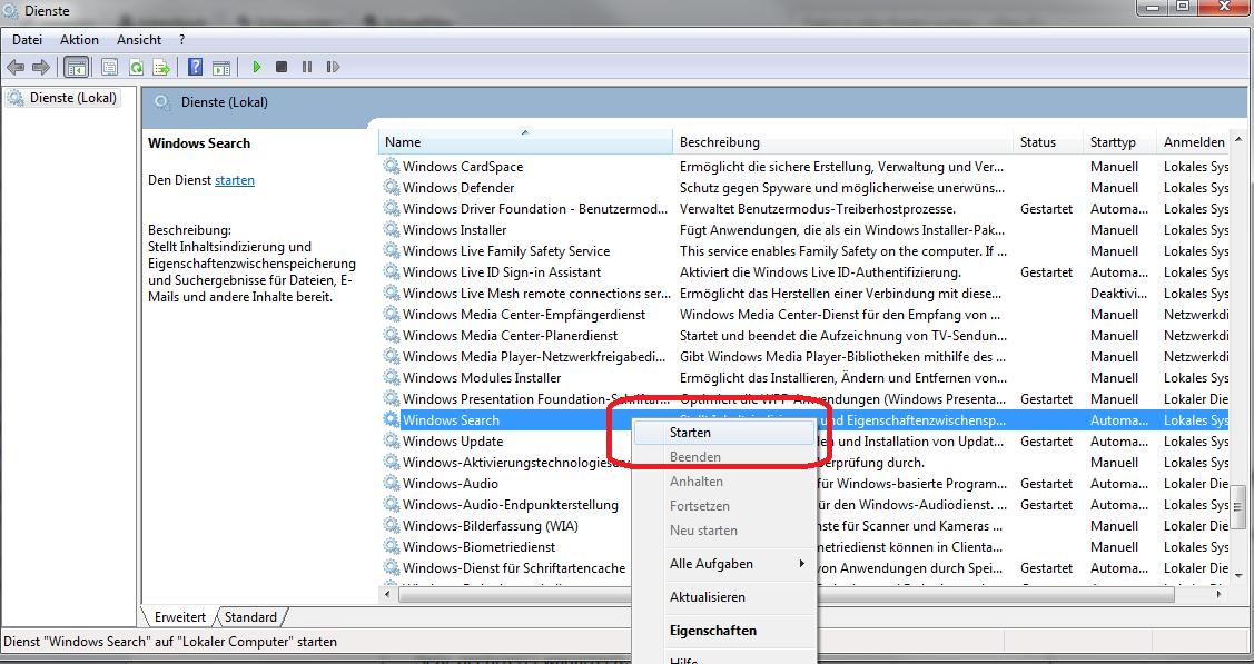 Windows Suchmodul Aktivieren